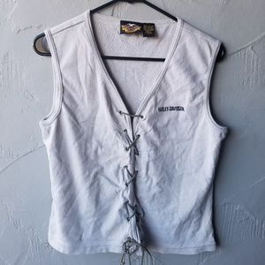 Harley Davidson gray front lace up tank large